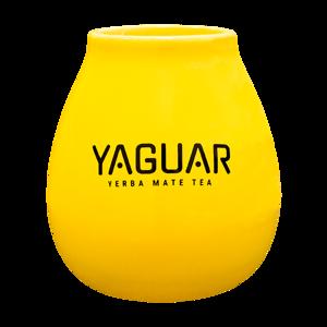 Tykwa ceramiczna żółta z logo Yaguar - 350 ml